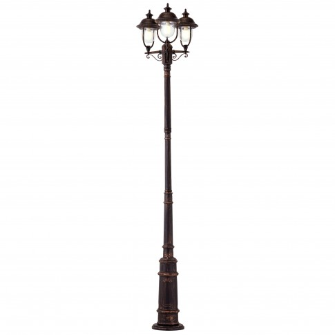 Stalp de iluminat ornamental Verona 9273, 3 x E27, H 305.9 cm, finisaj negru cu patina cupru