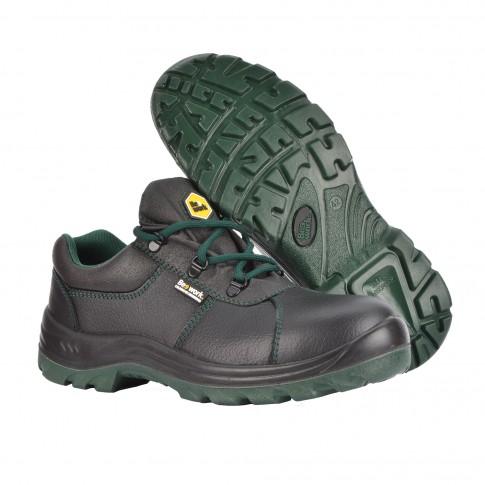 Pantofi de protectie Vidar cu bombeu metalic, piele naturala , negru cu verde, S3, marimea 42