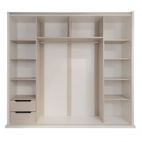 Dulap dormitor Vogue L231/H212, alb front + mov lucios, 2 usi glisante, cu oglinda, 230 x 65 x 212 cm, 10C