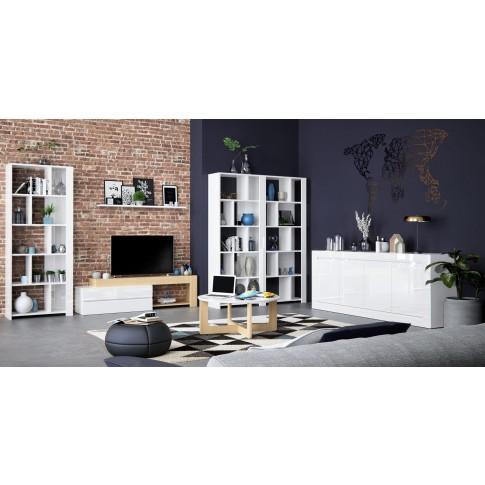 Comoda TV cu sertare Walter 0168BATVK, alb + stejar natur, 180 x 40 x 47 cm, 2C