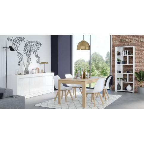 Bufet living cu 4 usi Walter 0168EN4PK, alb, 220 x 50 x 85 cm, 3C