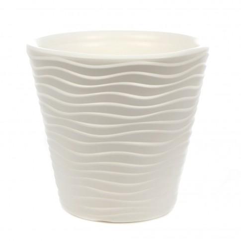 Ghiveci din plastic Wave, alb D 30 cm