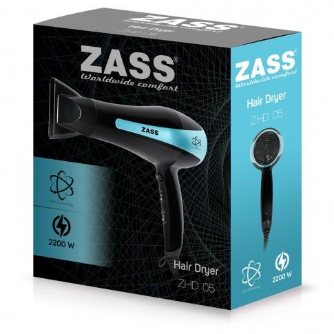 Uscator de par Zass ZHD 05, 1800 W - 2200 W, 2 viteze, 3 setari temperatura, functie ionizare si aer rece, negru cu albastru