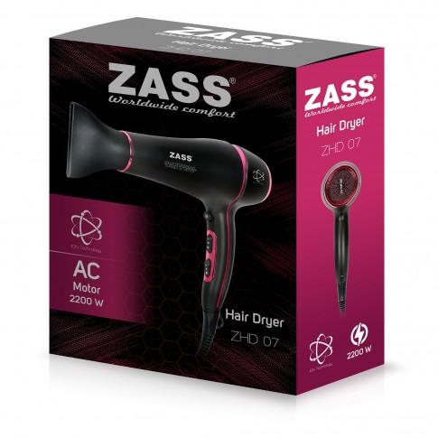 Uscator de par Zass ZHD 07, 1800 W - 2200 W, 2 viteze, 3 setari temperatura, functie ionizare si aer rece, negru cu roz