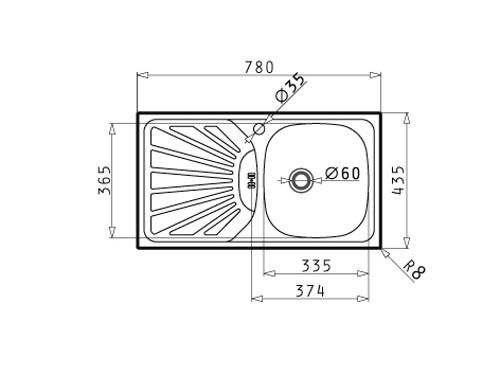 Chiuveta bucatarie inox anticalcar Pyramis Margarita 1B 1D cuva pe dreapta 78 x 43.5 cm + baterie Accel slim