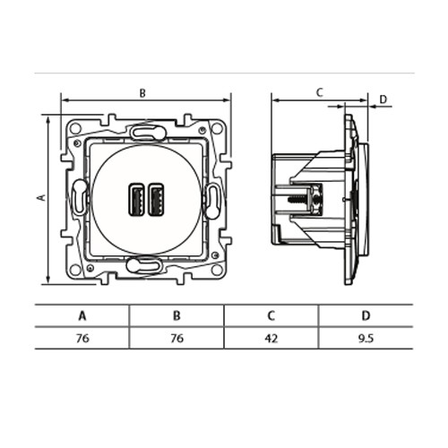Priza dubla USB Legrand Niloe 764594, montaj incastrat, alba, IP40, 5V