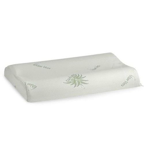 Perna pentru dormit Minet Memory Aloe Vera Ergonomica, tricot 100% poliester tratat cu Aloe Vera + spuma cu memorie, alb + verde, 42 x 72 cm