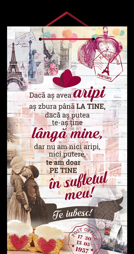 Tablou cu mesaj Valentine s Day, ES9461, dreptunghiular, 48 x 26 cm