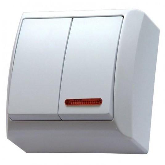 Intrerupator dublu cu indicator luminos Ospel Bis LN-2BS, aparent, rama inclusa, alb