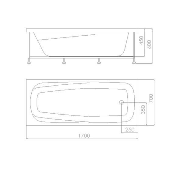 Cada baie rectangulara Kadda Larissa, masca si suport incluse, acril, 170 x 70 cm