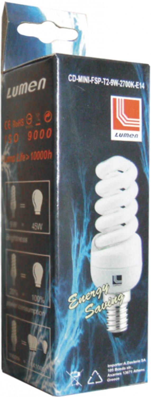 Bec ecunomic Super Mini T2 E14 9W lumina rece 00-765/9