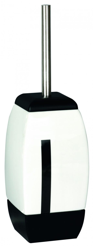 Perie WC Bisk Zeppelin 00516, ceramica, alb + negru