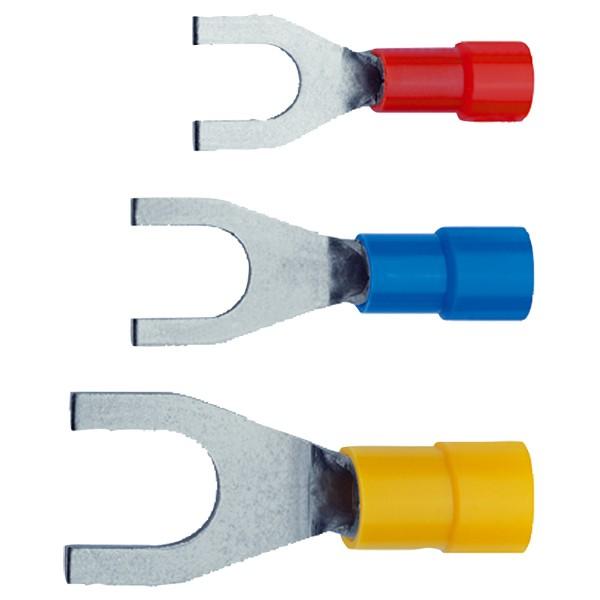Papuci cupru izolati tip furca X650C/4, 4 - 6 mmp, M4, PVC, 100 buc