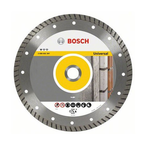 Disc diamantat, continuu, pentru debitare beton / piatra, Bosch Standard for Universal Turbo, 125 x 22.23 x 2 mm, 2608602394