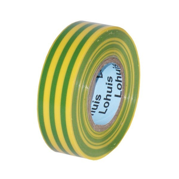 Banda izolatoare Lohuis galben cu verde 19 m x 0.15 mm x 19 mm