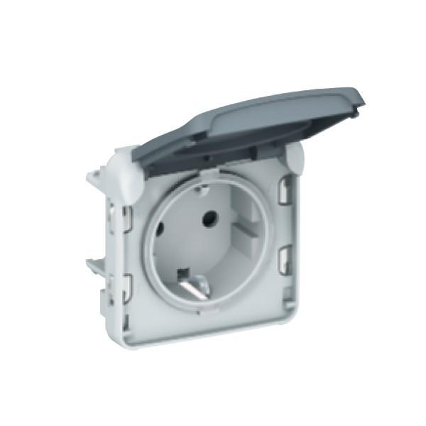 Priza simpla Legrand Plexo 069570, aparenta, rama inclusa, contact de protectie, gri