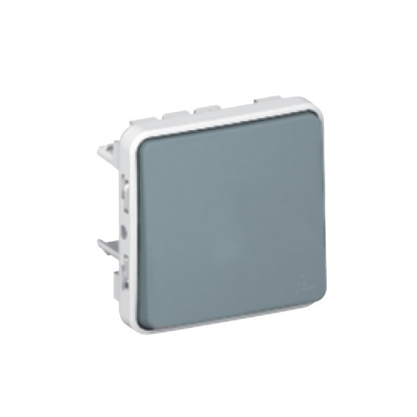Intrerupator cap scara simplu Legrand Plexo 069511, aparent, rama inclusa, gri