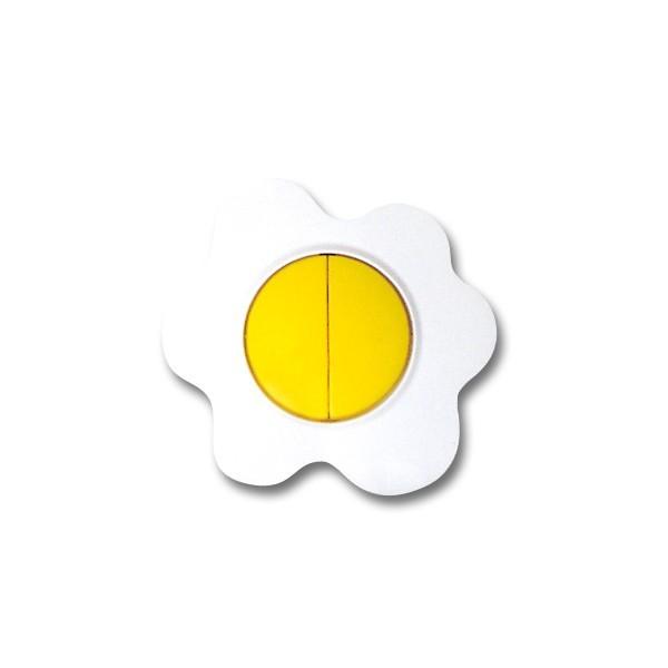 Intrerupator dublu Metalka-Majur Happy 1651004, incastrat, rama inclusa, ou, galben cu alb