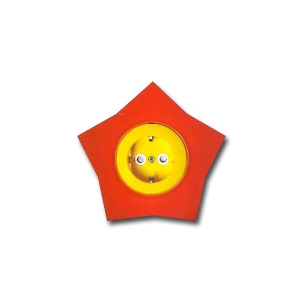 Priza simpla Metalka-Majur Happy 1641052, incastrata, rama inclusa, contact de protectie, galbena cu rosu, stea
