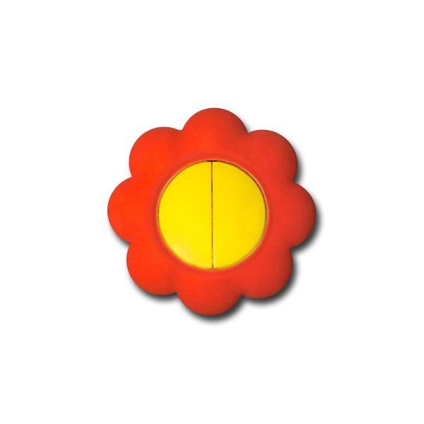 Intrerupator dublu Metalka-Majur Happy 1633004, incastrat, rama inclusa, floare, galben cu rosu