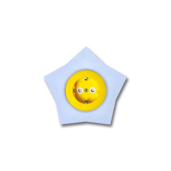 Priza simpla Metalka-Majur Happy 1642052, incastrata, rama inclusa, contact de protectie, galbena cu bleu, stea