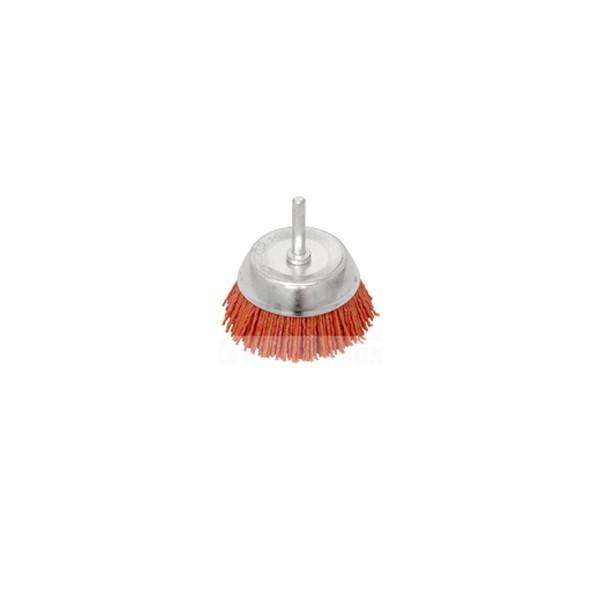 Perie cupa, cu tija, din nylon abraziv pentru inox / aluminiu, Peromex 5213G, diametru 50 mm
