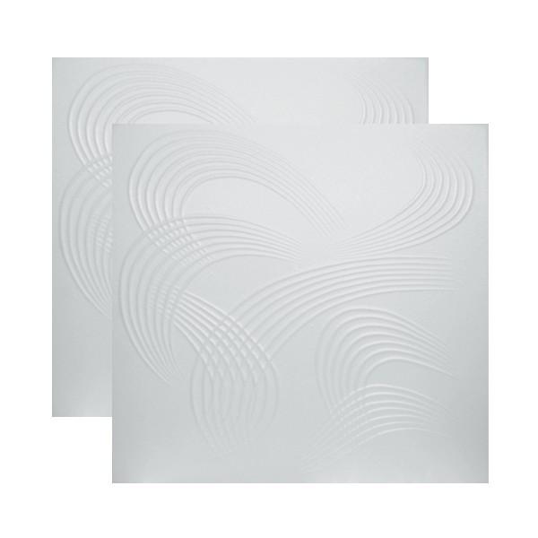 Tavan fals decorativ din polistiren VTM  0884 modern alb 50 x 50 x 0.4 cm