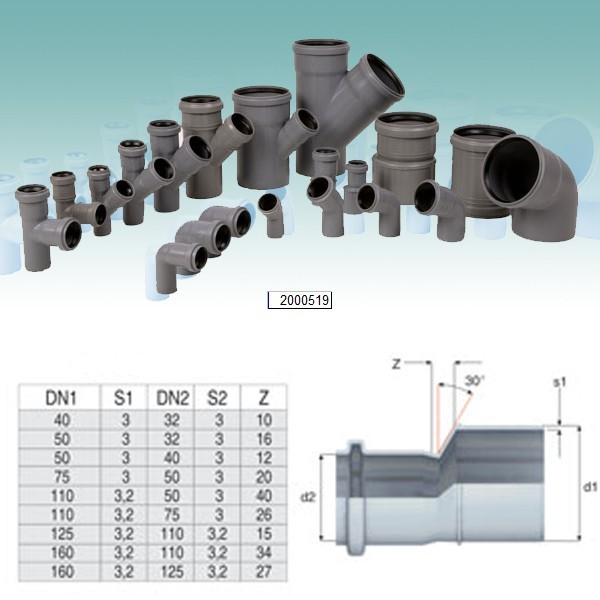 Reductie excentrica PP HTRA, pentru scurgere, D 125 mm - D 110 mm
