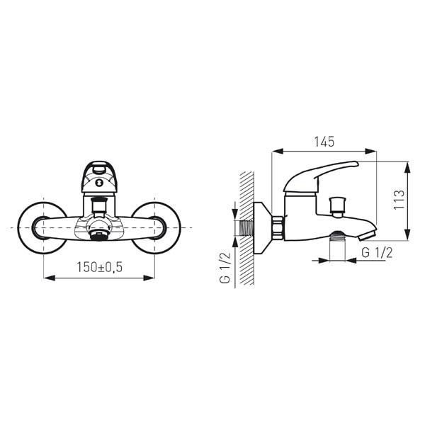 Baterie baie pentru cada / dus, Ferro Rossa BRR11, 18 X 16.2 X 10.5 + accesorii, montaj aplicat, monocomanda, finisaj cromat