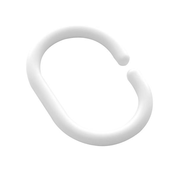 Inele perdea dus, plastic, albe, AN0101, set 12 bucati
