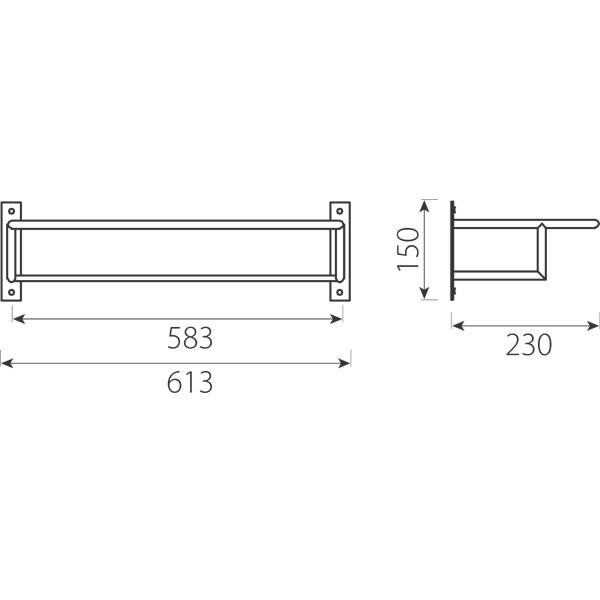 Suport prosop baie Grace AC23, tip etajera, 61.3 x 23 x 15 cm