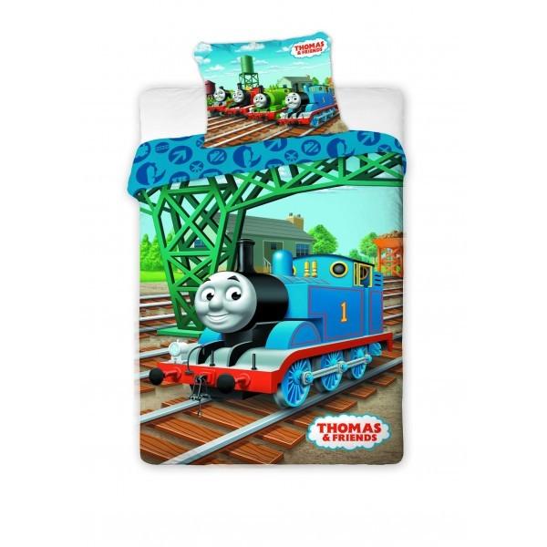 Lenjerie de pat, copii, 1 persoana, Thomas the tank engine, bumbac 100%, 2 piese, multicolor