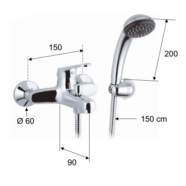 Baterie baie pentru cada / dus, Remer Remix R02 + accesorii, montaj aplicat, monocomanda, finisaj cromat