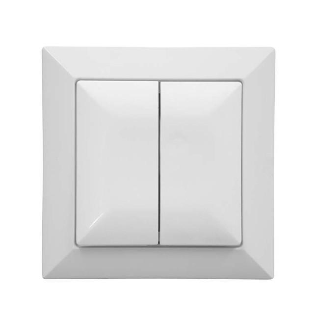 Intrerupator dublu Abex Perla WP-2P, incastrat, alb