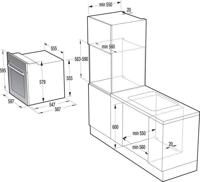 Cuptor electric incorporabil Gorenje BO635E11XK, clasa A, 65 litri, 9 functii, grill, ventilator, functie StayWarm, curatare AquaClean, argintiu