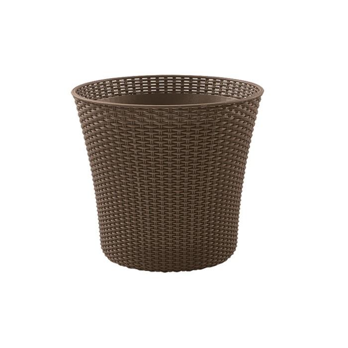 Ghiveci din plastic cu finisaj ratan sintetic Curver, maro deschis D 54 cm
