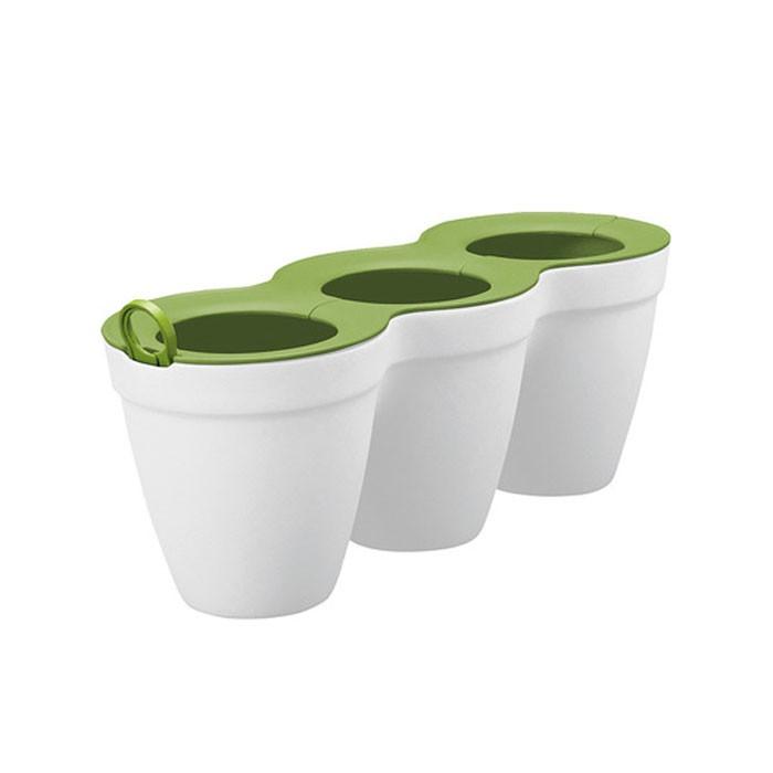 Ghiveci din plastic Ivy Herbs Curver, albe 33 x 12.2 x 12.7 cm, set 3  bucati