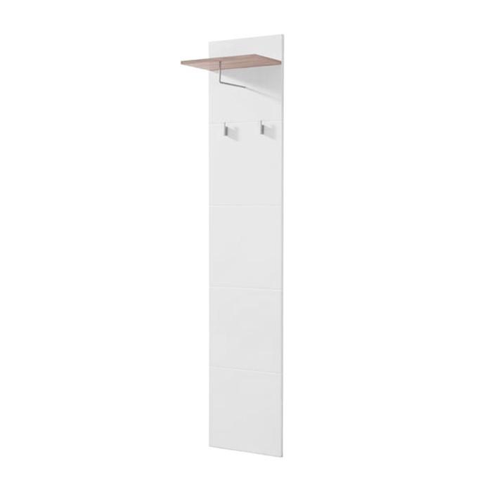 Cuier hol pentru perete Beny CIV 390 cu 3 agatatori si polita, alb lucios + stejar gri, 390 x 256 x 1900 mm, 2C