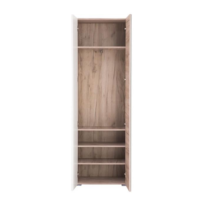Dulap hol Beny 2K cu o agatatoare, oglinda si rafturi, stejar gri + alb lucios, 2 usi, 602 x 353 x 1924 mm, 2C