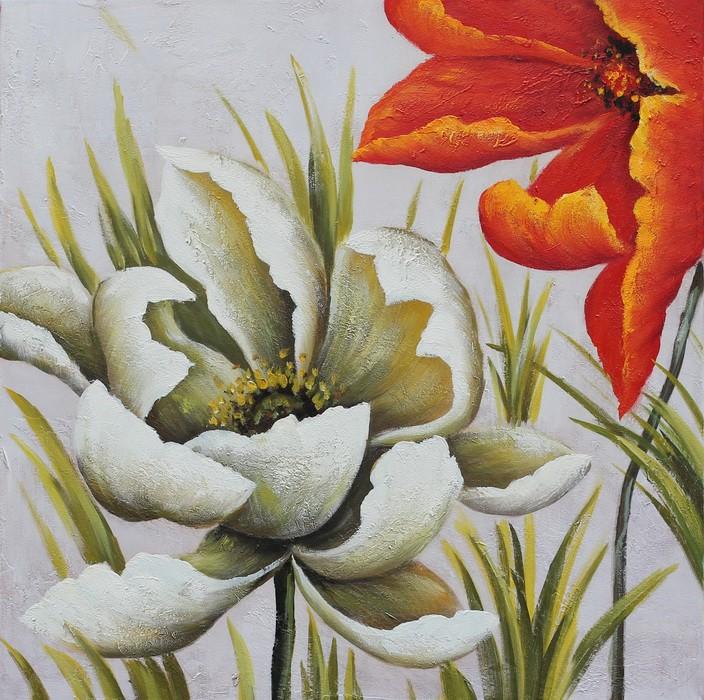 Tablou 118 CTF-03007, canvas + lemn de brad + vopsea acrilica, stil floral, 65 x 65 cm