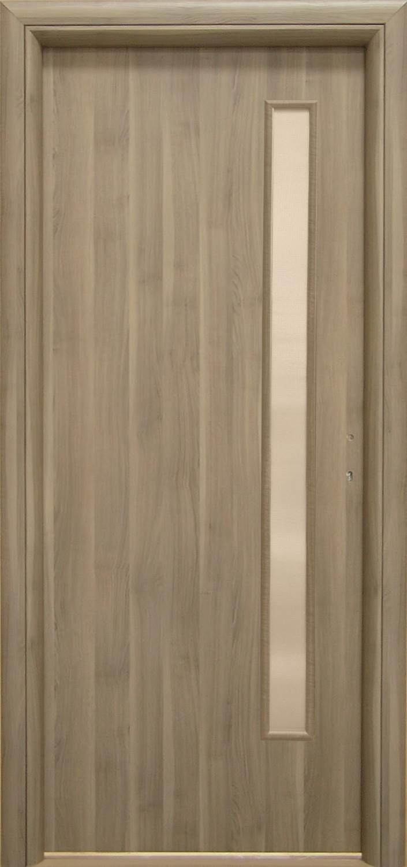 Usa interior celulara cu geam, Eco Euro Doors R80, stanga,  gol II, gri, 202 x 86 x 4 cm cu toc