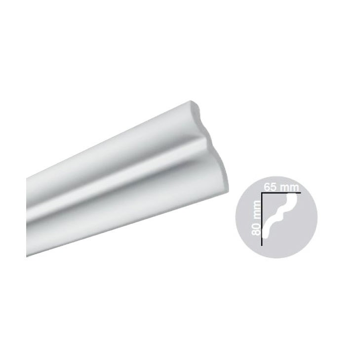 Bagheta polistiren decorativa C05-80 simplu alb 200 x 6.5 x 8 cm