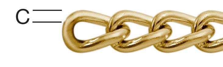 Lant din otel, auriu, 1.2 mm