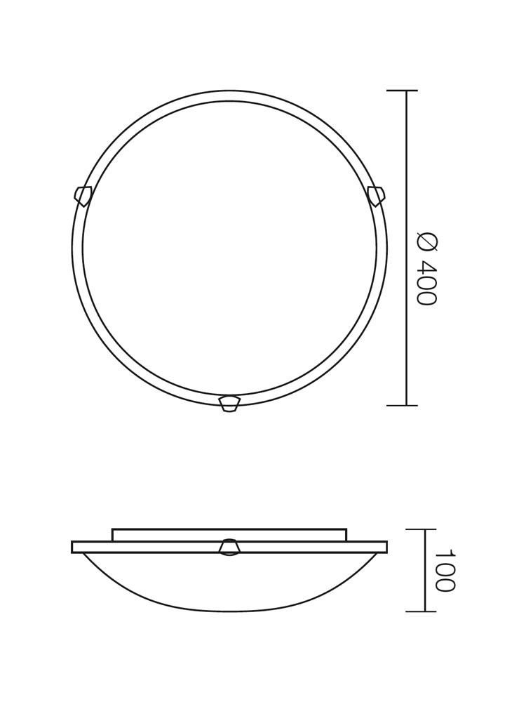 Plafoniera Virginia 05-391, 2 x E27, alb, D400 mm