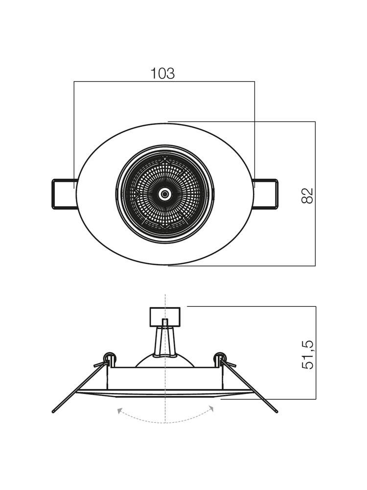 Spot incastrat ELC 104 70058, GU5.3, crom