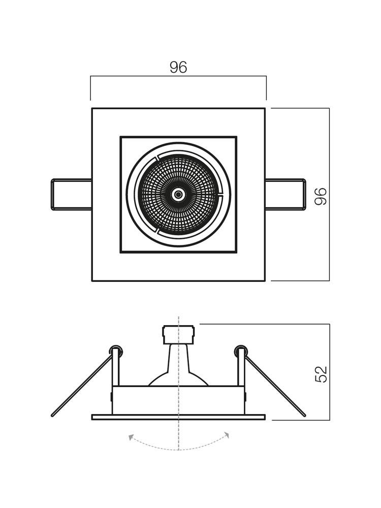 Spot incastrat ELC 2374 70083, GU5.3, nichel mat