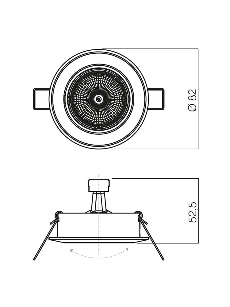 Spot incastrat ELC 229B 70081, GU5.3, nichel mat