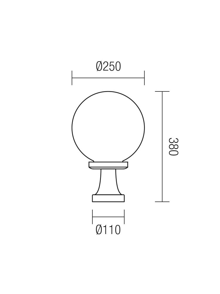 Corp de iluminat pentru exterior Sfera 2 Jolly 9775, 38 cm, opal
