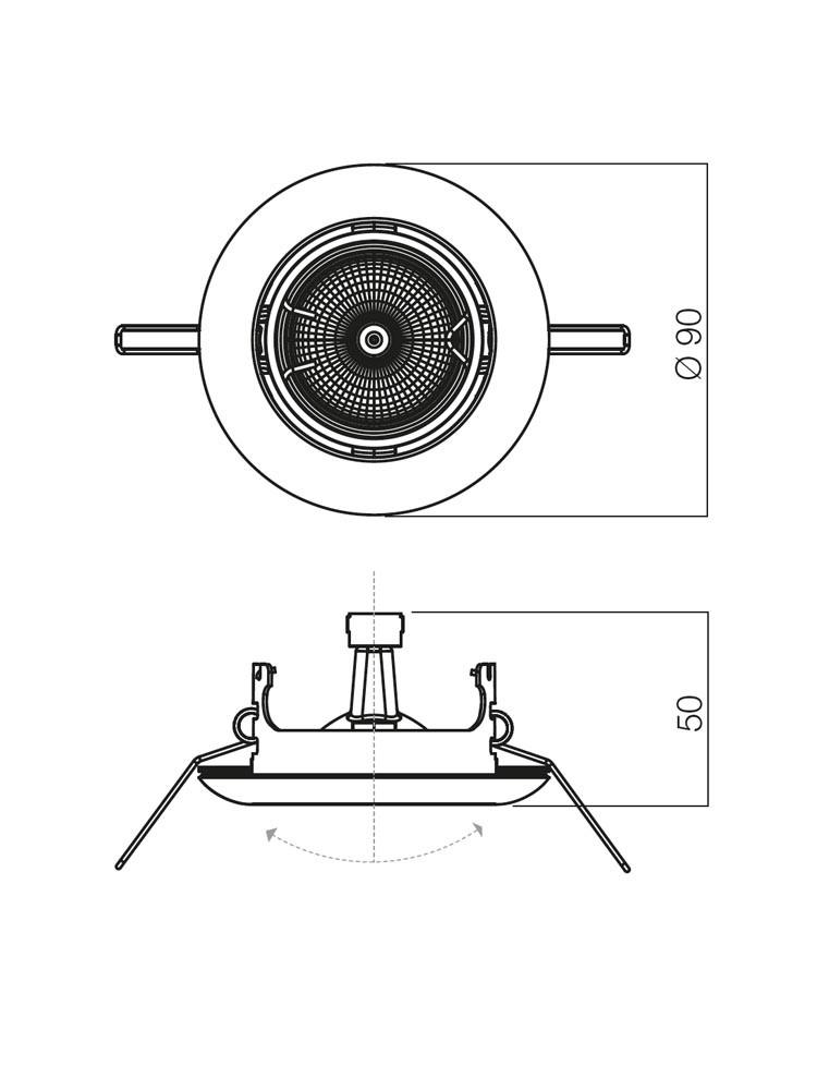 Spot incastrat ELC 3072 70158, GU5.3, negru