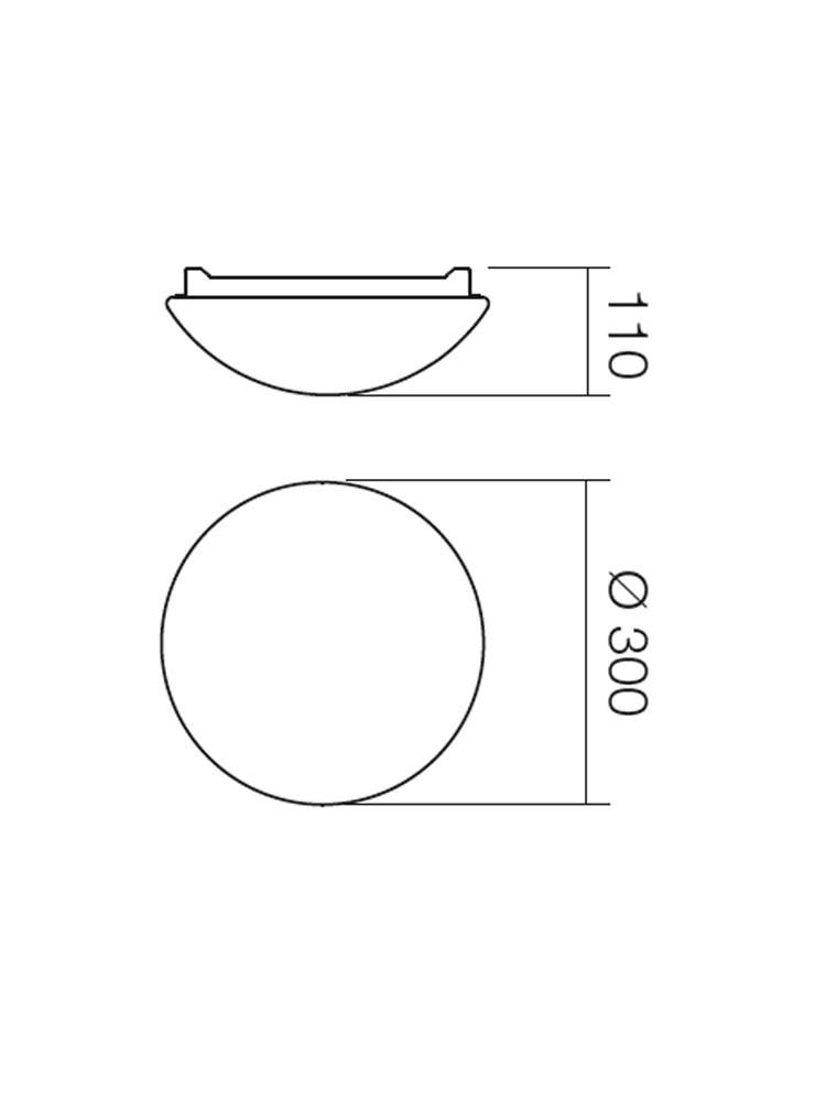 Plafoniera pentru baie Ibis 01-398, 1 x E27, D 300 mm